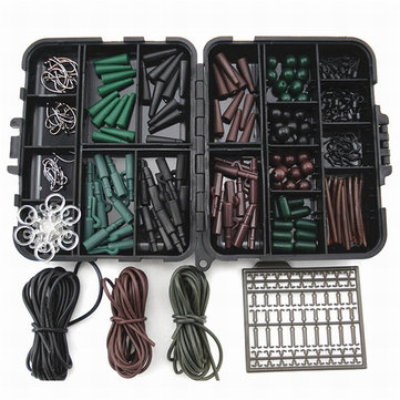 ZANLURE One Set Assorted Carp Fishing Accessories Hooks Rubber Tubes Swivels Beads Sleeves Combo Box