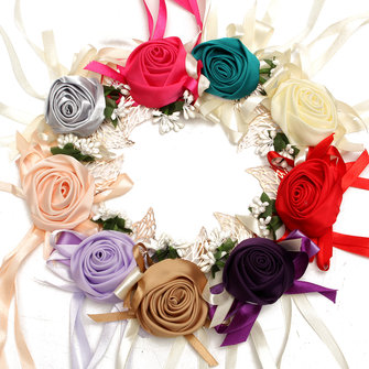Bridal Rose Ribbon Wrist Flower Bridesmaid Corsage Bracelet Wedding Party Decoration