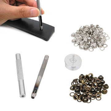 Leather Tool Grommet Installation Setting Tool Kit Set Leather Hole Punch with 80 Eyelets