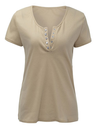 Sexy Women Scoop Neck Short Sleeve Button Summer Slim T-Shirt