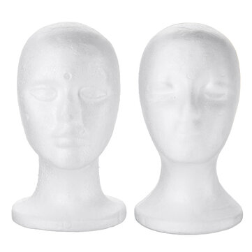 White Polystyrene Foam Mannequin Head Model Hat Wig Glasses Display Stand Rack