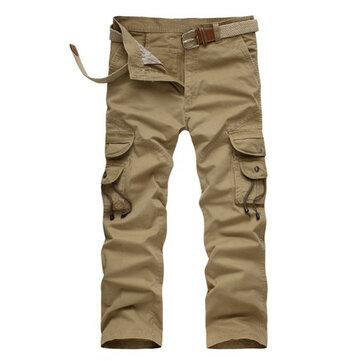 Algodão calças largas casuais calças cargo de multi bolso Tactical mens millitary