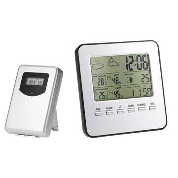 Digital Indoor Outdoor Thermometer Hygrometer Wireless Weather Station Clock LCD Calendar Alarm Moon Phase Display