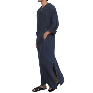 Vintage Ethnic Style Kaftan Loose Comfy Simple Tunics Robe Loungewear for Men