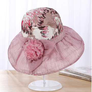Women Elegant Wide Brim Velvet Flowers Bucket Hat Fashion Inkjet Print Floppy Sunscreen Cap