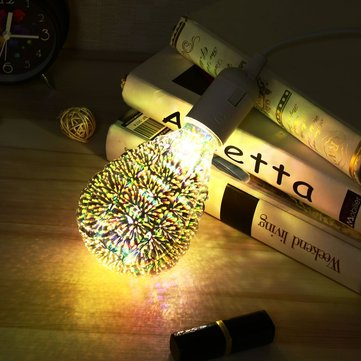 AC220V E27 5W 3D Retro Vintage Edison Firework LED Fairy Light Bulb Lamp for Party Decor