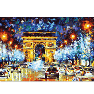 Abstract Digital Oil Painting DIY Painting Numbers Kits Night Scene Frameless Canvas Home Wall Decor 40x50cm