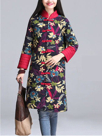 Retro Women Floral Plate Button Stand Collar Thicken Warm Cotton Coat