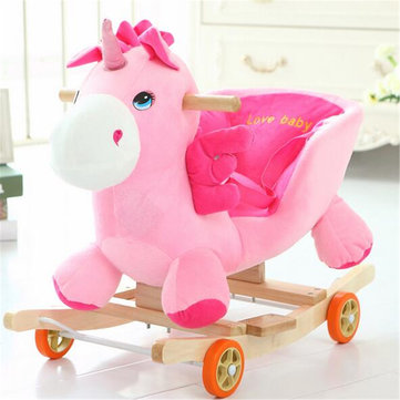 Buy Baby Kid Toys 50*28*58CM Wooden Plush Rocking Horse Little Unicorn Style Riding Rocker for $76.99 in Banggood store