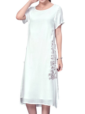Chinese Style Women Embroidered Side Slit Frog Button Design Midi Dress
