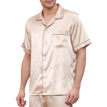 Mens Striped Collar Chest Pocket Imitation Silk Sleepwear Champagne Home Short Sleeves Pajama Sets