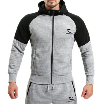 Men's Leisure Sports Hooded Sweater Spring Autumn Fitness Jogging Running Zip Up Hoodies