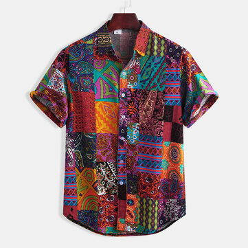 Mens Summer Colorful Stripe Cotton Ethnic Style Floral Printing Casual Short Sleeve Shirts