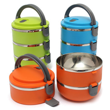 3 Layers Stainless Steel Portable Insulation Thermal Lunch Box Food Container Handle