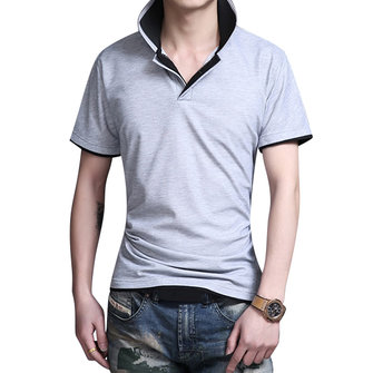 Mens Color Splicing Turn Down Collar Solid Color Slim Fit Casual Short Sleeved Polo Shirts
