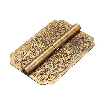 Door Hinge Chinese Furniture Brass Hardware Trunk Cabinet Door Hinges Copper Dragon 3.15'