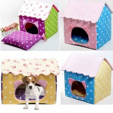 Casa rede interna portátil pet cão gato cama dobrável porco ninho quente de pelúcia do cão do gato tapete almofada de cachorro cama