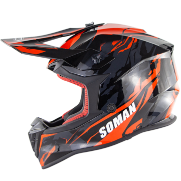 SOMAN ECE Motocross Full Face Protective Safety Adult Motorcycle Off-road Helmet Flip Up Sun Shield Cover SM633