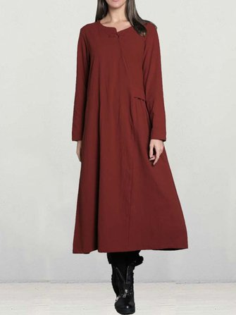 Casual Women Long Sleeve Solid Color Cotton Loose Dress