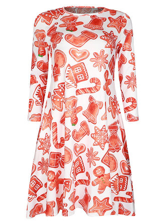 Vintage Christmas Gift Printing Women A-line Party Dress