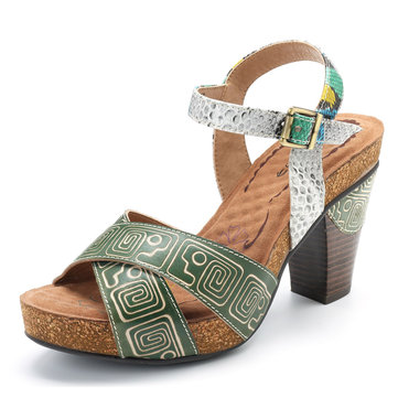 SOCOFY Genuine Leather Pattern Buckle Square Heel Sandals