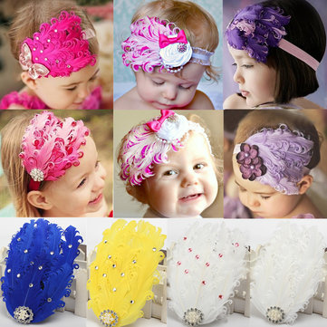 Baby Girl Feather Rhinestone Headbrand Hair Clip Band Artificial Pearls Olivet