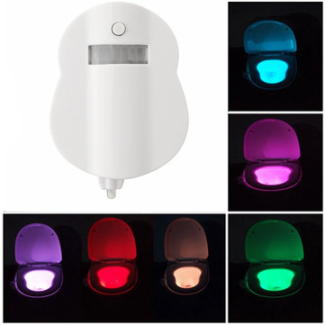 8 Color Motion Activated LED Toilet Sensor Night Light Bowl Bathroom Lamp