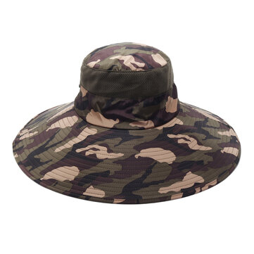 Men Camouflage Round Hat Mesh Bucket Cap Fisherman Hats