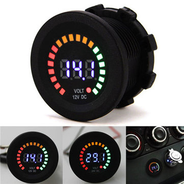 12V Vehicle Colorful Screen Volt Meterr Waterproof Digital Warning Instrument