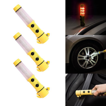 4 in 1 LED Torch Flashing Emergency Signal Warning Light Beacon Hammer Magnetic