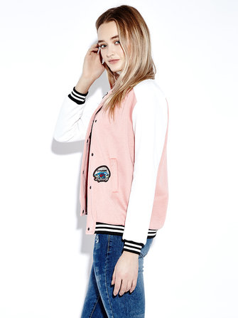 Women Casual Long Sleeve Letter Print Short Baseball Coats