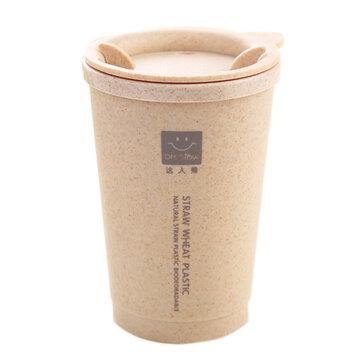 KCASA KC-WHE02 280ML Simple Wheat Fiber Double Layer Insulation Mug Student Cup Creative Water Bottle