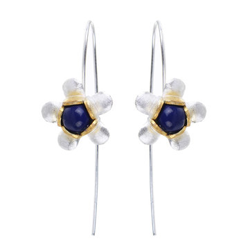 Sweet 925 Sterling Silver Long Flower Earrings for Women