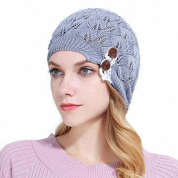 Women Knitted Beanie Hats Casual Hollow Out Lace Button Woolen Warm Bonnet