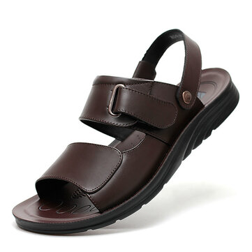 Men Comfy Genuine Leather Open Toe Sandals Slippers Two Way Wear Shoes
