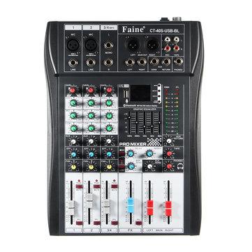 Faine CT-40S-USB-BL 4 Channel Bluetooth DJ Mic Mixer LCD Display MP3 AUX USB Stereo Club Stage KTV Karaoke