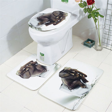 3pcs Bathroom Rug Mats Set 3D Elephant Flannel Soft Anti-slip Shower Toilet Carpet