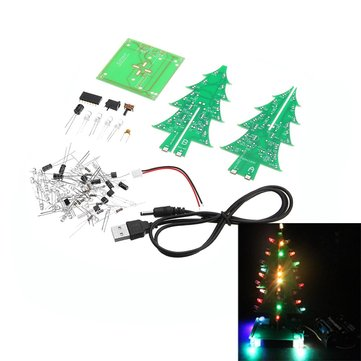 Upgraded Version DIY Colorful Christmas Tree Electronic Production Kit With Power Cable
