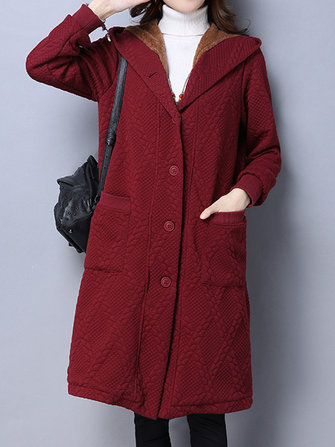 Vintage Solid Hooded Long Sleeve Thick Velvet Women Long Coat