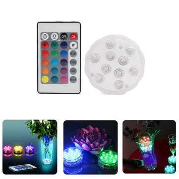 10 LED Remote Aquarium Fish Tank Light Candle Lamp Under Water Color Changeing Decor