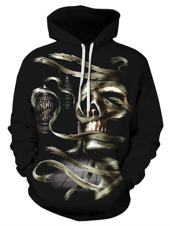 Halloween Women Skull Printed Hooded Sweatshirts