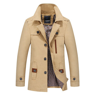 Mens Single-breasted Jacket Turn-down Collar Cotton Solid Color Casual Coat