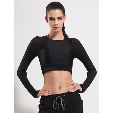 Women Long Sleeve Mesh Stitching Elastic Yoga Running Training Crop Tops