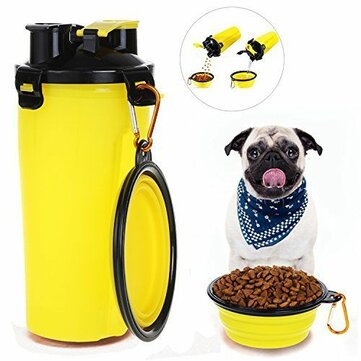 2 In 1 Pet Dog Food Water Bottle Portable Dog Travel Water Bottle With Dog Bowl Portable Pet food And Water Bottle With A Folding Bowl Feeder Dual Pet Food And Water Dispenser
