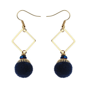 Bohemian Earrings Gold Plated Simple Rhombus Yarn Ball Pendant Ear Drop Boho Jewelry for Women