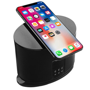 LED Display Wireless Phone Charger Bluetooth Speaker Alarm Clock FM Radio TF/AUX For iphoneX Samsung