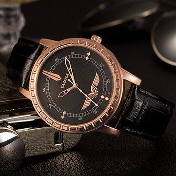 YAZOLE 387 Business Watch Simple Dial Leather Strap Men Quartz Wrist Watch