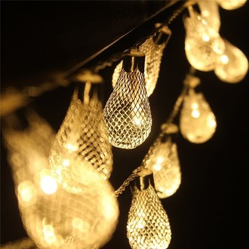 KCASA 3.3M 20 LED Metal Water Drop String Lights LED Fairy Lights for Festival Christmas Halloween Party Wedding Decoration Battery Powered