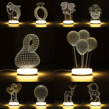3D Illusion USB LED Night Light Warm White Desk Table Lamp Xmas Gift
