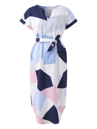 Women Sexy Geometric Printed V-Neck Short Sleeve Belted Maxi Dress